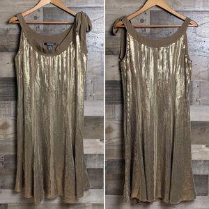 ELLEN TRACY Brown Silk Gold Sequin Bow Dress 10